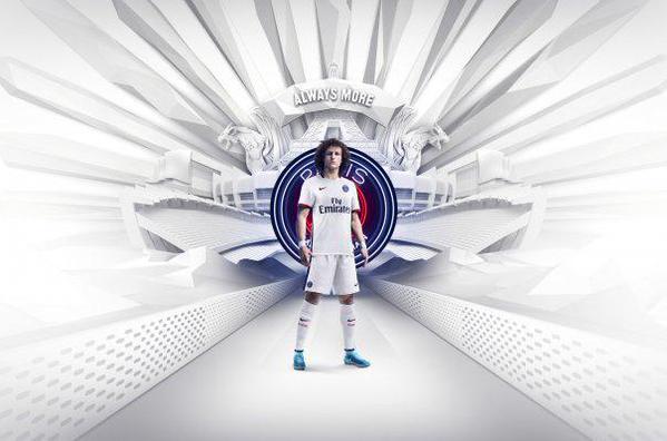 David Luiz avec le nouveau maillot du PSG