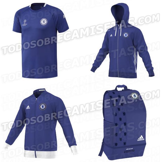 Maillot entrainement, survètement, veste et sac à dos Chelsea 2016