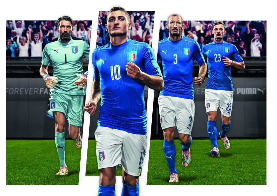 Maillot Italie domicile Puma présenté par Marco Verratti