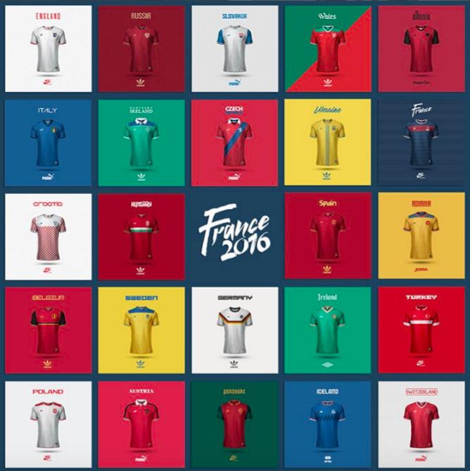 Les maillots de l'Euro 2016 version Emilio Sansolini