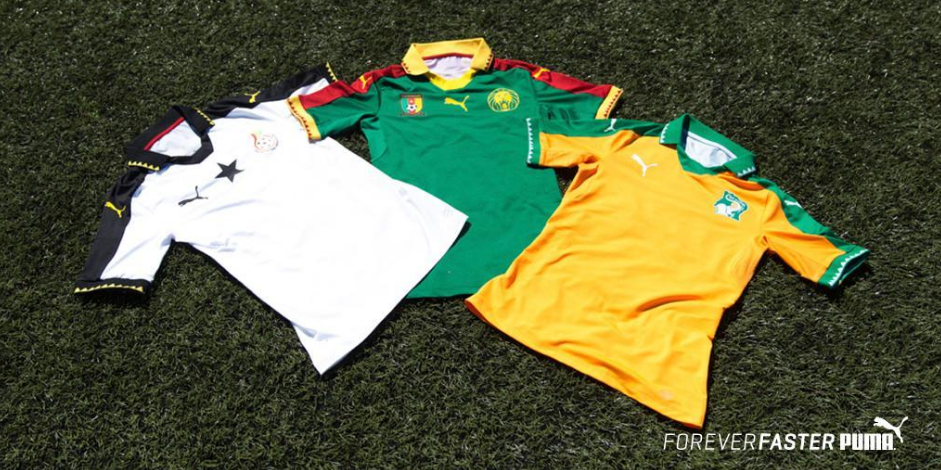 Les nouveaux maillots du Ghana, du Cameroun et de la Côte d'Ivoire