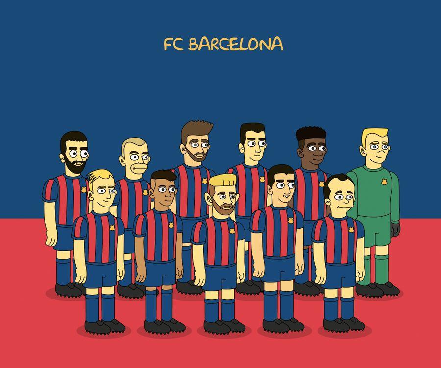 Maillot FC Barcelone revisité par les Simpson