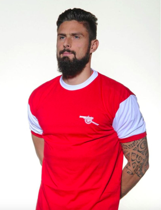 Giroud et le maillot d'Arsenal 1971