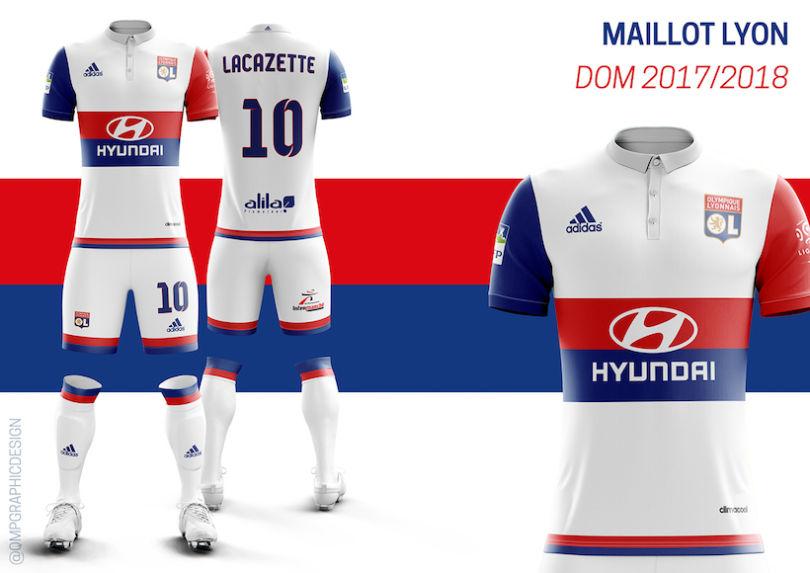 Le maillot domicile de l'OL 2017-2018 version Quentin Martins Pereira