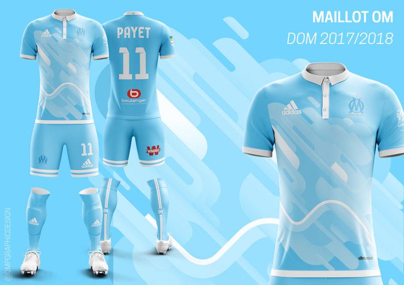 Le maillot domicile de l'OM 2017-2018 version Quentin Martins Pereira