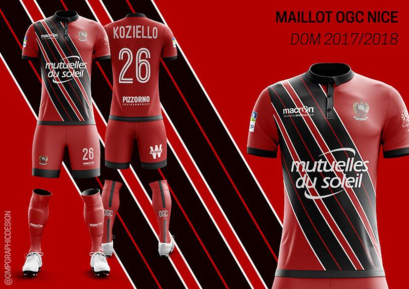 Le maillot domicile de l'OGC Nice 2017-2018 version Quentin Martins Pereira